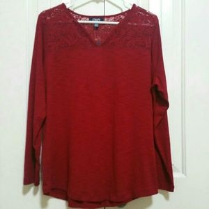 Red Chaps Long Sleeve Blouse Size 1x